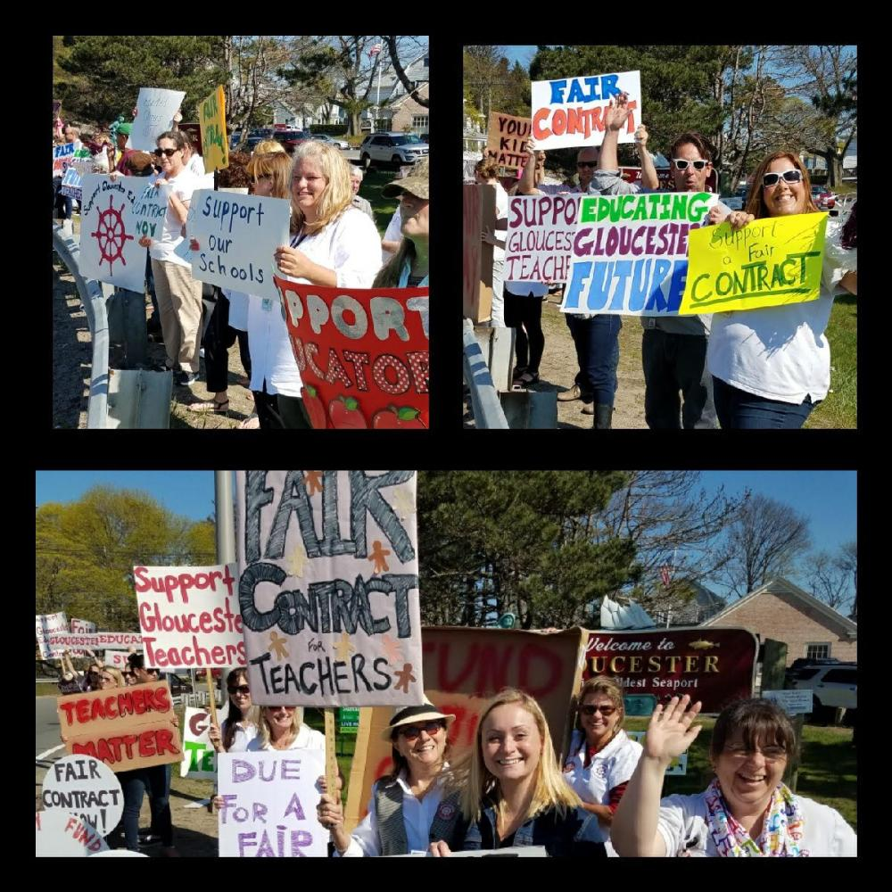 Teachers rally at the rotary to support a fair contract