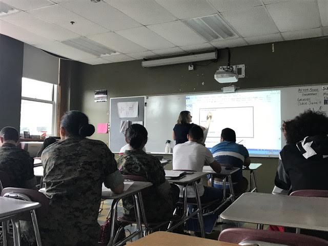 Ms.+Smith+teaches+geometry+to+SEI+students