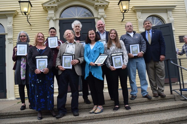 Jacob+Belcher+and+Alexis+McLean+pose+with+other+recipients+of+the+Gloucester+Universalist+Church+Citizenship+Award+on+May+7th