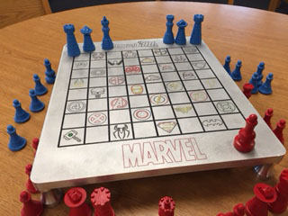 Machine shop students crafted this comic book themed chess board for the G.H.S. chess club