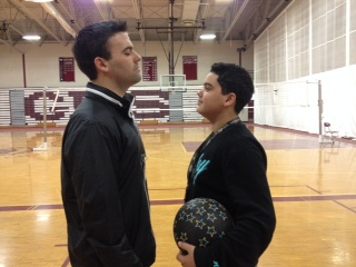 Freshmen Seth Maciel (right) stares down his competition, history teacher Shaun Goulart