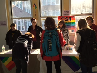 Students take GSA survey in the cafeteria.