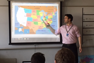 Mr. Shaun Goulart teaches one of his final classes at Gloucester High School