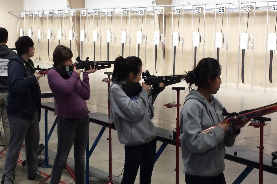 Members+of+the+GHS+Rifle+Team+%28from+left%29+Cassidy+Garvey%2C+Jacqueline+McCarthy%2C+Thuy+Nguyen%2C+Epifania+Perez