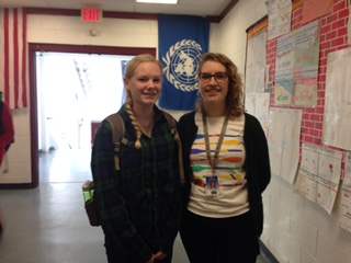 Freshman Rebecca Pollack (left) and her peer mentor Emma Paddock