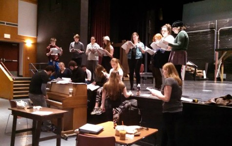 Cast of Legally Blonde rehearses for opening night.