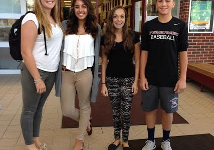 Freshmen class officers (from left) Ruby Melvin, Delaney Benchoff, Carolyn Cinelli, and Ben Oliver