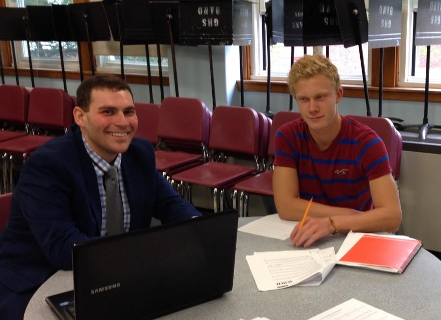 New band teacher Aaron Staluppi (left) with music student Lukas Struppe.