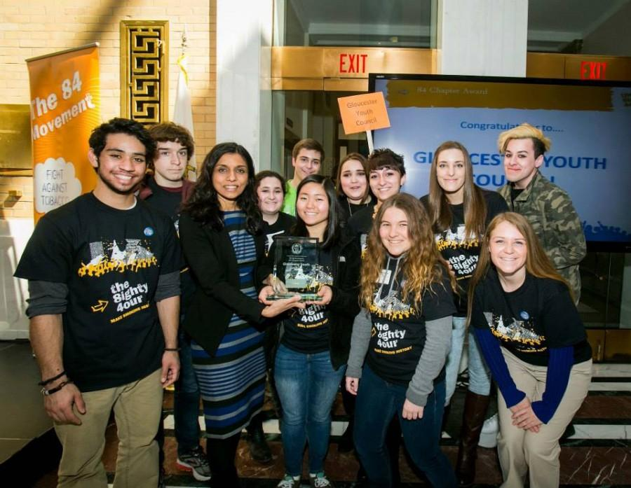 The Gloucester Youth Council accepts award for #1 84 chapter of the year
