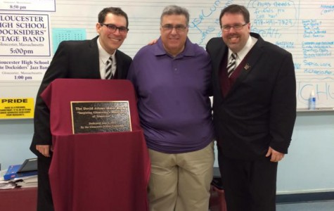 (from left) Aaron Staluppi, David Adams, and Dave DiPietro at the band room dedication ceremony