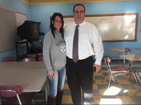 Police Chief Leonard Campanello with ex-addict Nicole, who spoke to GHS health classes on December 15.