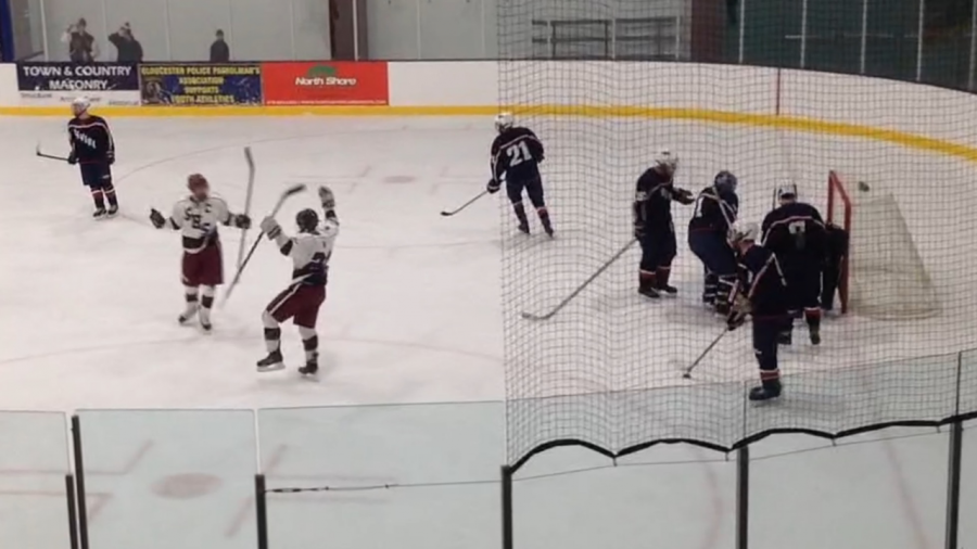 Liam+Lyons+and+Eddie+Mahoney+celebrate+after+a+shorthanded+goal