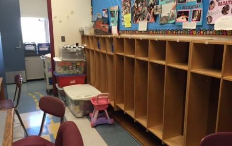 Empty cubbies in the preschool room