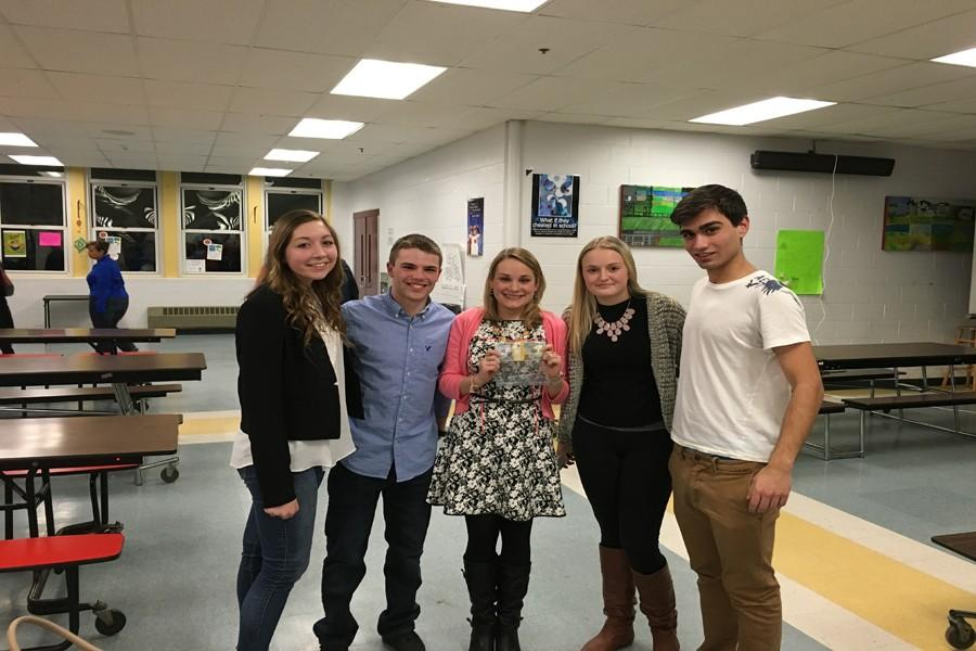 (from left) Lexi Ciolino, Jarrod Martin, Samantha Whitney, Chrissy Nugent, and Isaac DaSilva made a successful pitch to Awesome Gloucester for a grant to make improvements to the library