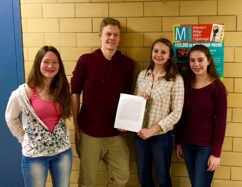 (From left) Danielle Bauke, Lukas Struppe, Matilda Grow and Sammy Orlando were awarded a $1000 scholarship for Moody's Mega Math Challenge