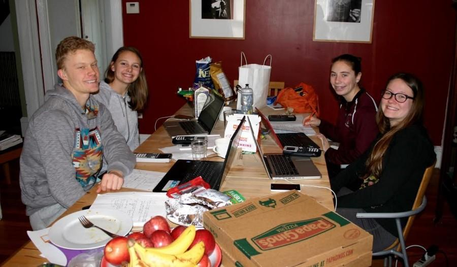 Lukas Struppe,Matilda Grow, Samantha Orlando and Danielle Bauke participate in the Moody's Mega Math Challenge