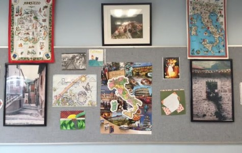 Cultural display in Mr. Basile's room for World Language Week
