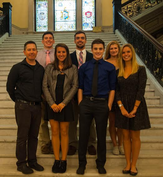 Hannah Mills (right) with youth awareness group at the statehouse. Also pictured (from left) Adviser Zach Roy, Mike Cody, Lizzy Ciaramitaro, Alex Enes, Patrick Goss and Sara Francis