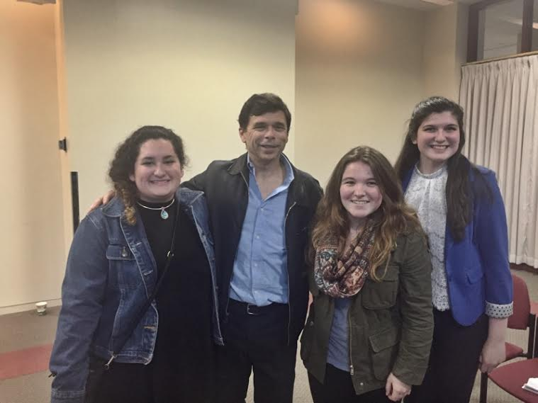 (From left) Gianna Cabral, The Boston Globe Spotlight Reporter Michael Rezendes, Caroline Enos, and Maria Kotob
