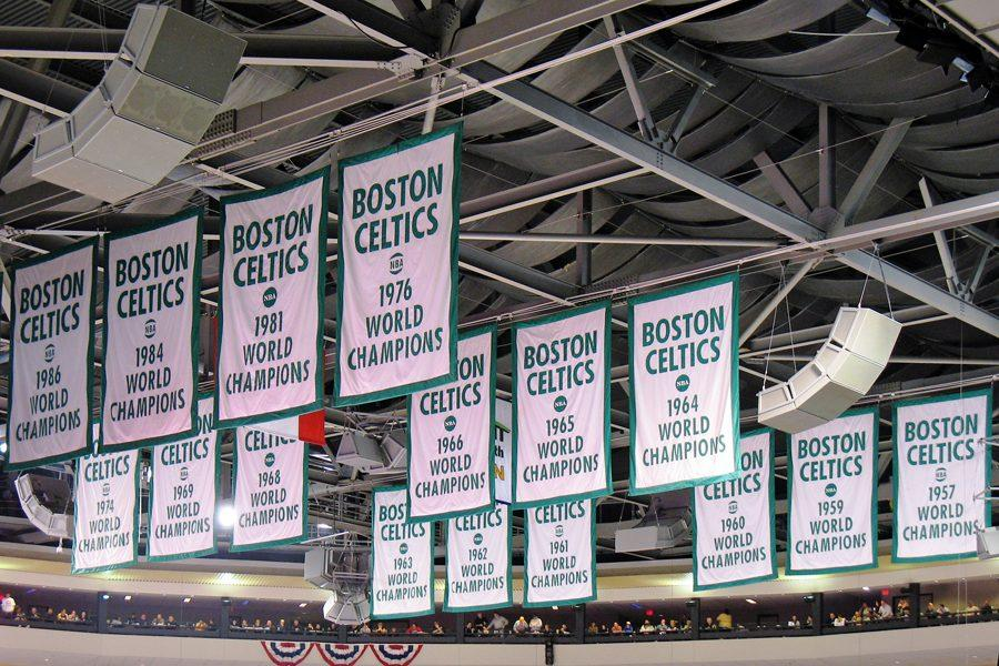 Celtics NBA Championship banners hang in the TD Garden