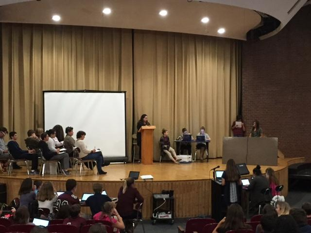 O'Maley eighth graders perform a mock trial for students, parents and staff