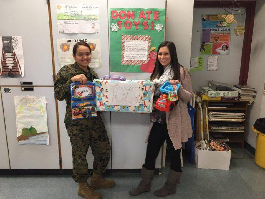 Toy drive hosts Mayra Oliveria and Jade Orlando