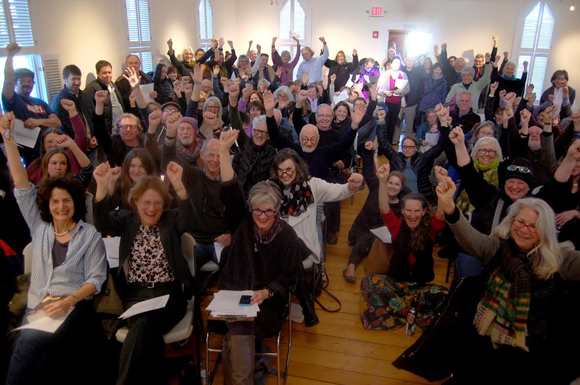 Cape Ann residents at the Writer's Resist event Sunday show support for freedom of speech and democracy