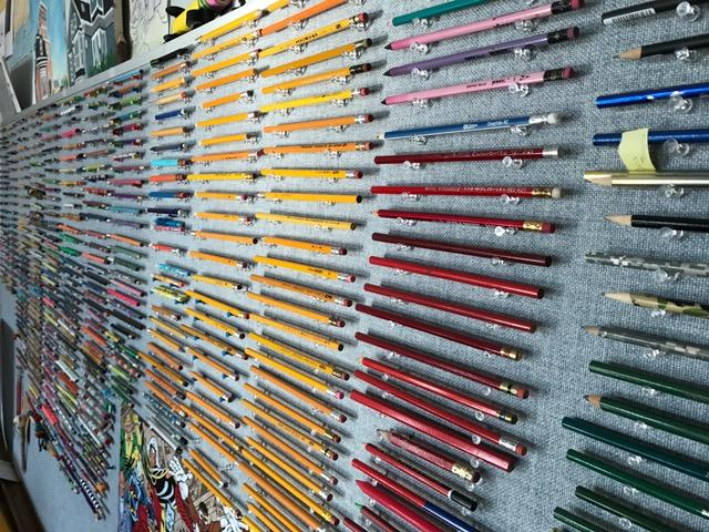 Mr. Roy's impressive pencil collection