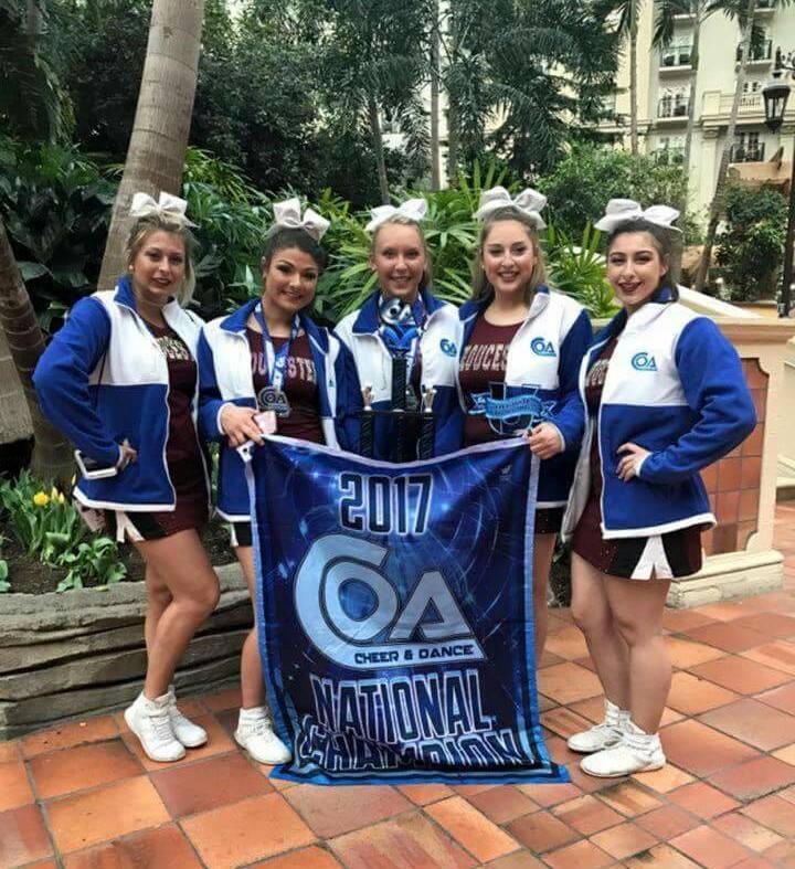 Senior GHS cheerleaders. From left Julia Allen, Gianna Sanfilippo, Lexi McRobb, Bridie Newhall, and Grace Brancaleone