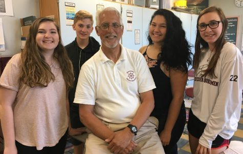Gus Martinson with his sophomore students (from left) Sadie Cook, Austin Monell, Sophia Cecelio, Rachel Rallo.