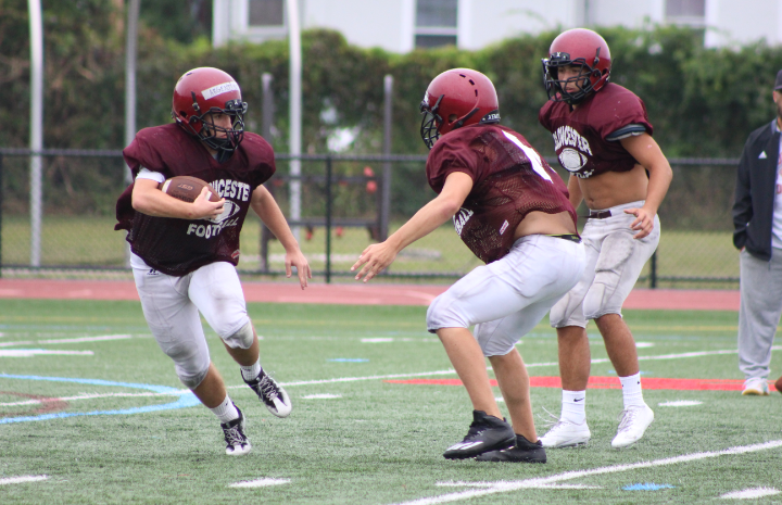 Ryan Argentino plays wide receiver against two defensive backs at practice Wednesday