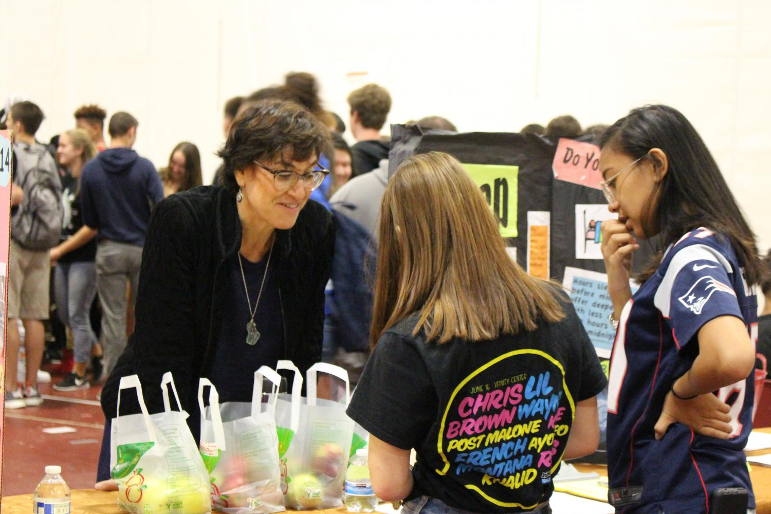 Nurse Practitioner Linda Gipstein, who works in the GHS Health Center, educates students on healthy decision making at the GHS health fair on September 29th