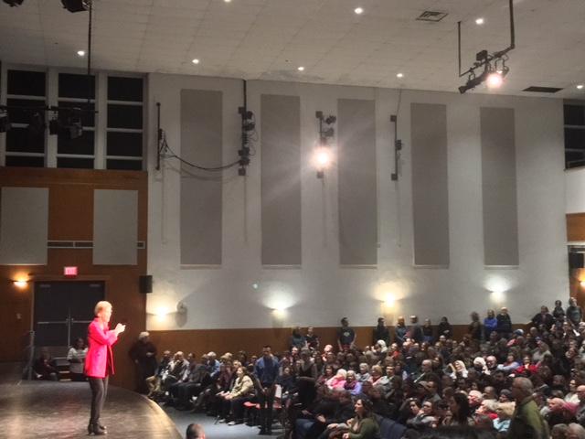 Senator Elizabeth Warren addresses the crowd inside of GHS's Putney auditorium