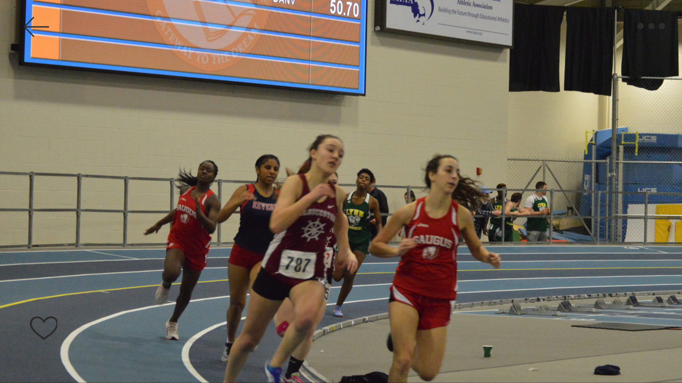 Lila Olson  sprints to the finish last year at Reggie Lewis Athletic Center