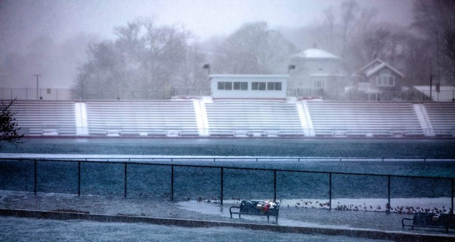 Gloucester High's New Balance Newell Stadium was flooded as a result of Thursday's storm