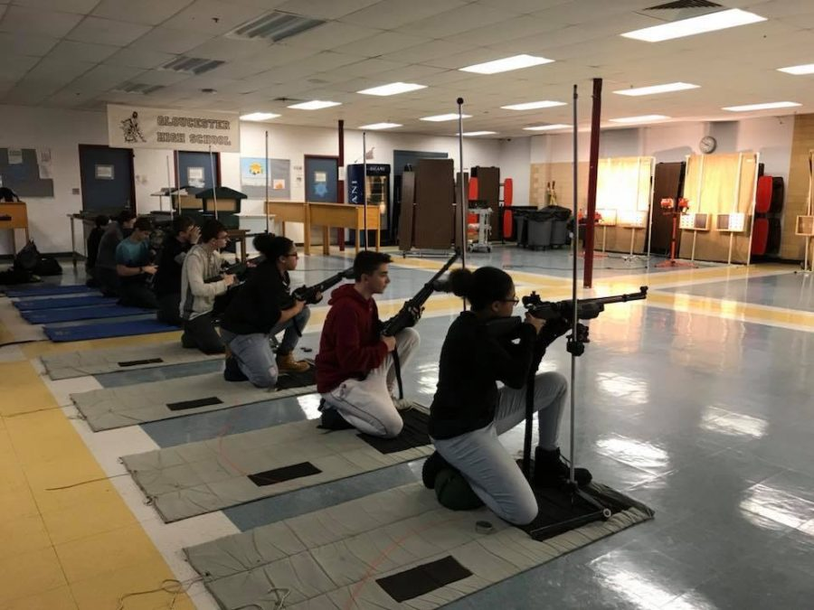 JROTC rifle team practices for the 2018 MLK Drill Meet
