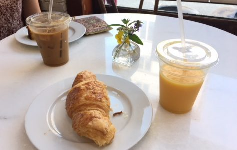 A pastry and drinks from local cafe, Sandpiper Bakery.