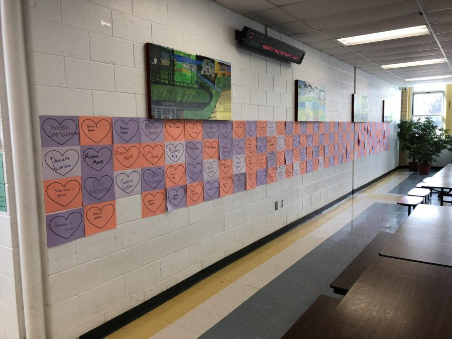 The+Youth+Advisory+Council+wrote+every+GHS+student%27s+name+on+hearts+hanging+on+the+cafeteria+for+Valentine%27s+Day