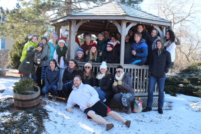 GHS+Interact+club+poses+with+adviser+Michael+Perreault+for+a+group+photo+at+annual+Polar+Plunge.