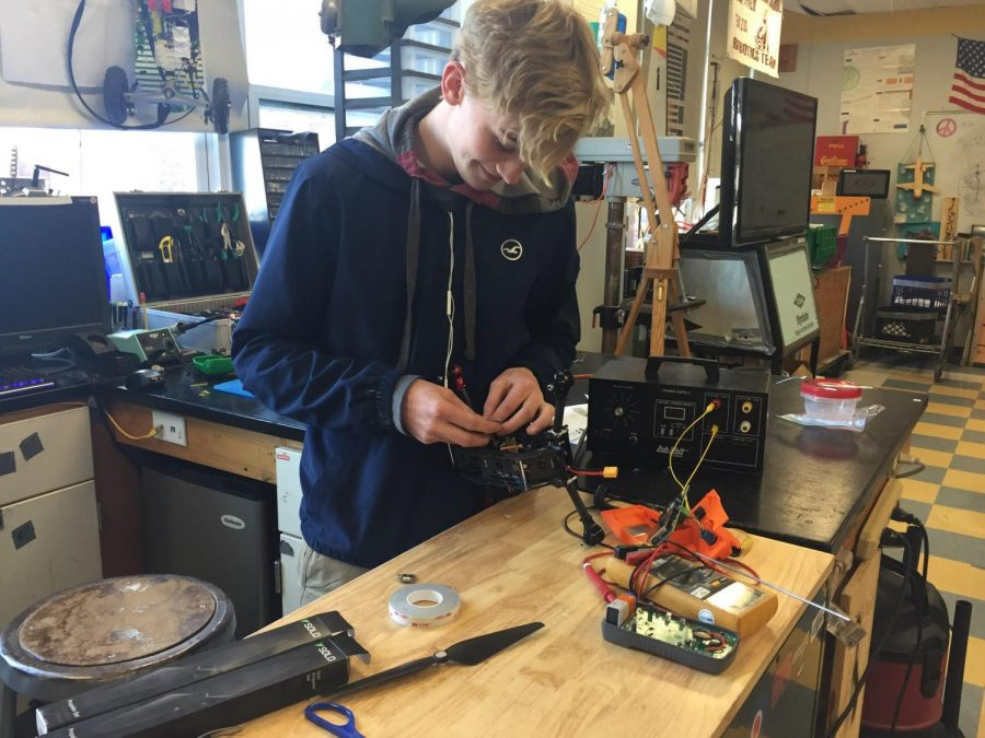 Austin Monell works on his drone project