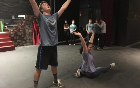 Brendan Johnson and Jessyca Muniz rehearse for the GHS spring musical,