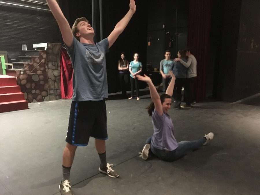 Brendan+Johnson+and+Jessyca+Muniz+rehearse+for+the+GHS+spring+musical%2C+%22Once+Upon+a+Mattress%22