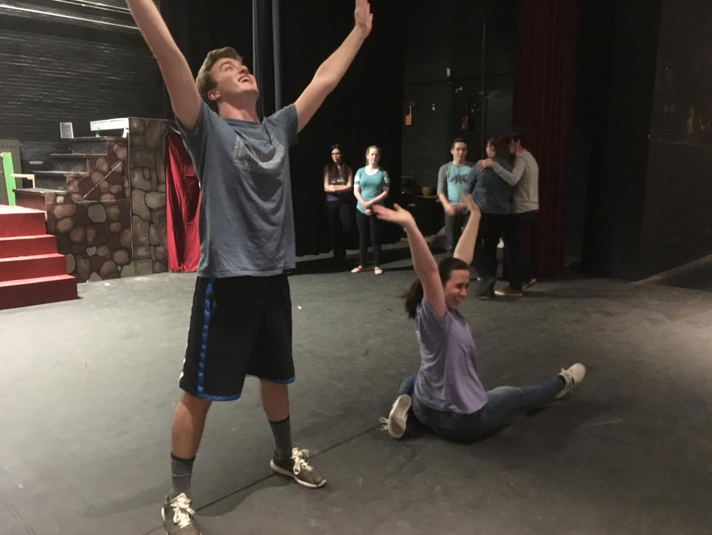 Brendan Johnson and Jessyca Muniz rehearse for the GHS spring musical,