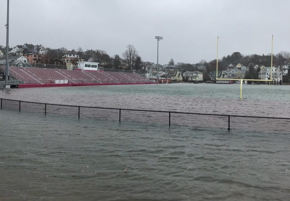 New Balance Newell Stadium and the student parking lot flooded during Friday's high tide at 11:15