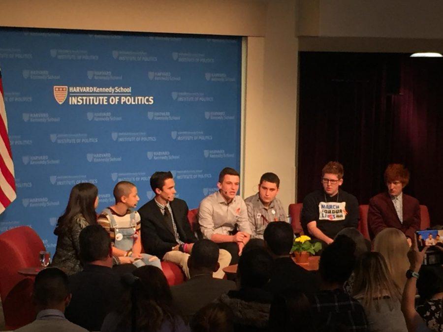 A panel of six students from Marjory Stoneman Douglas High School. (From left) Host Meagan Stone, Emma Gonzalez, David Hogg, Cameron Kasky, Alex Wind, Matt Deitsch, Ryan Deitsch.