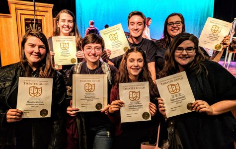 (from left) Maddie Gossom, Jessyca Muniz, Haley Johnson, Bella Giordano, Brendan Johnson, Karlee Hynes, and Kayla Saltonstall at the  Massachusetts Theater Celebration at Weston High School