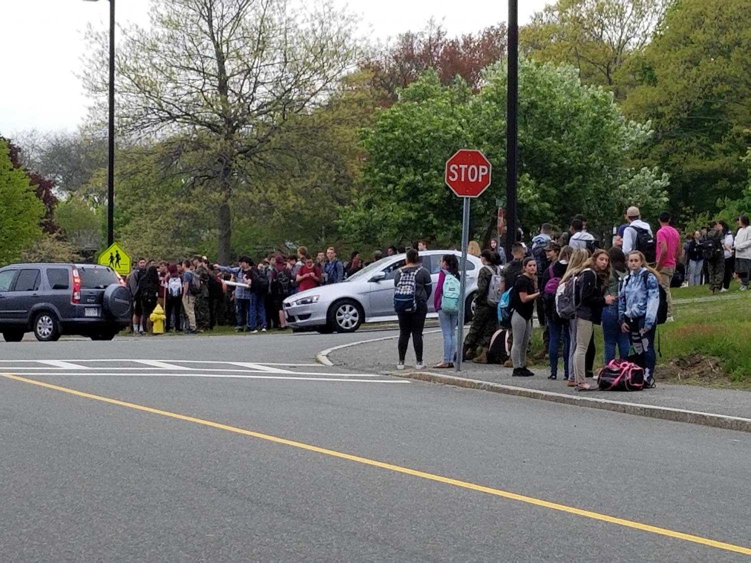 Students gather outside GHS Thursday morning due to equipment malfunction in the Vocational Wing