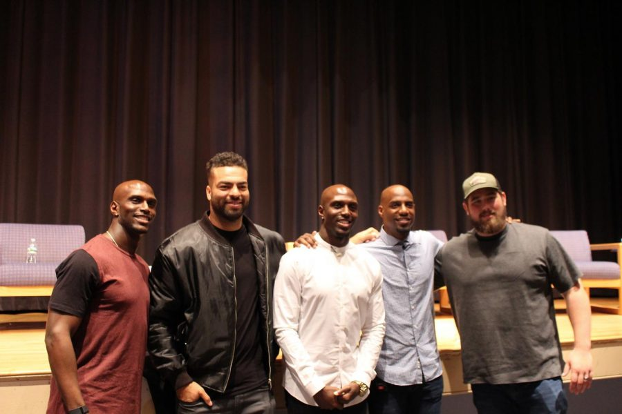 Patriots players Jason McCourty, Kyle Van Noy, and David Andrews came to support Devin McCourty and Duron Harmon at the panel discussion