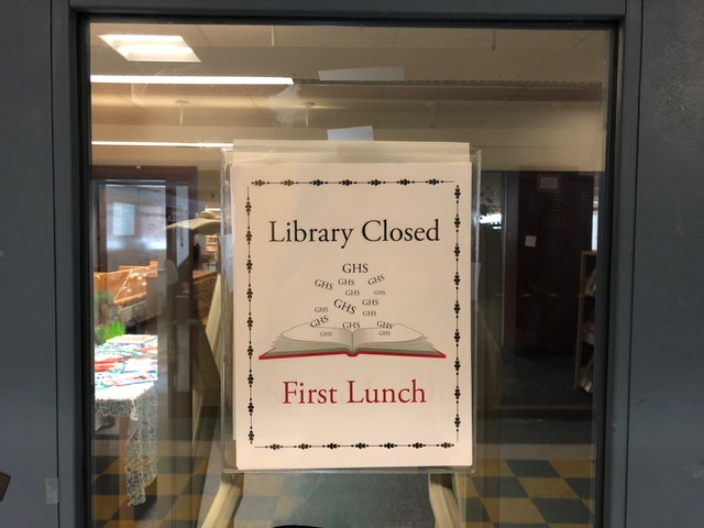 Sign posted on LLC door barring students from entering during first lunch
