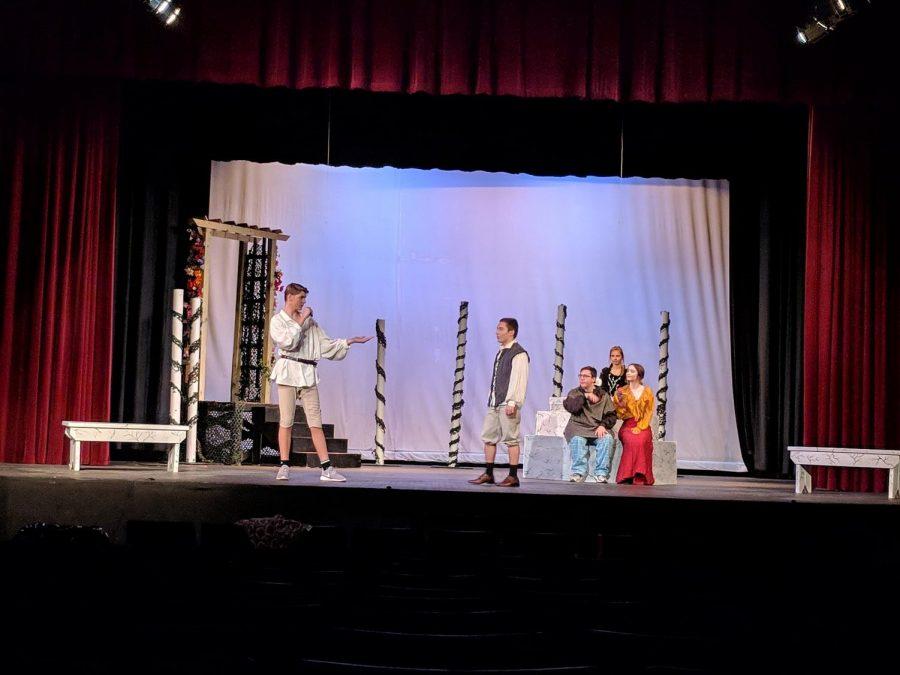 Hamlette cast rehearses on stage.